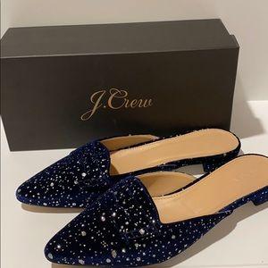 J Crew SZ 9 Velvet Loafer Mules Navy/Silver Shoes